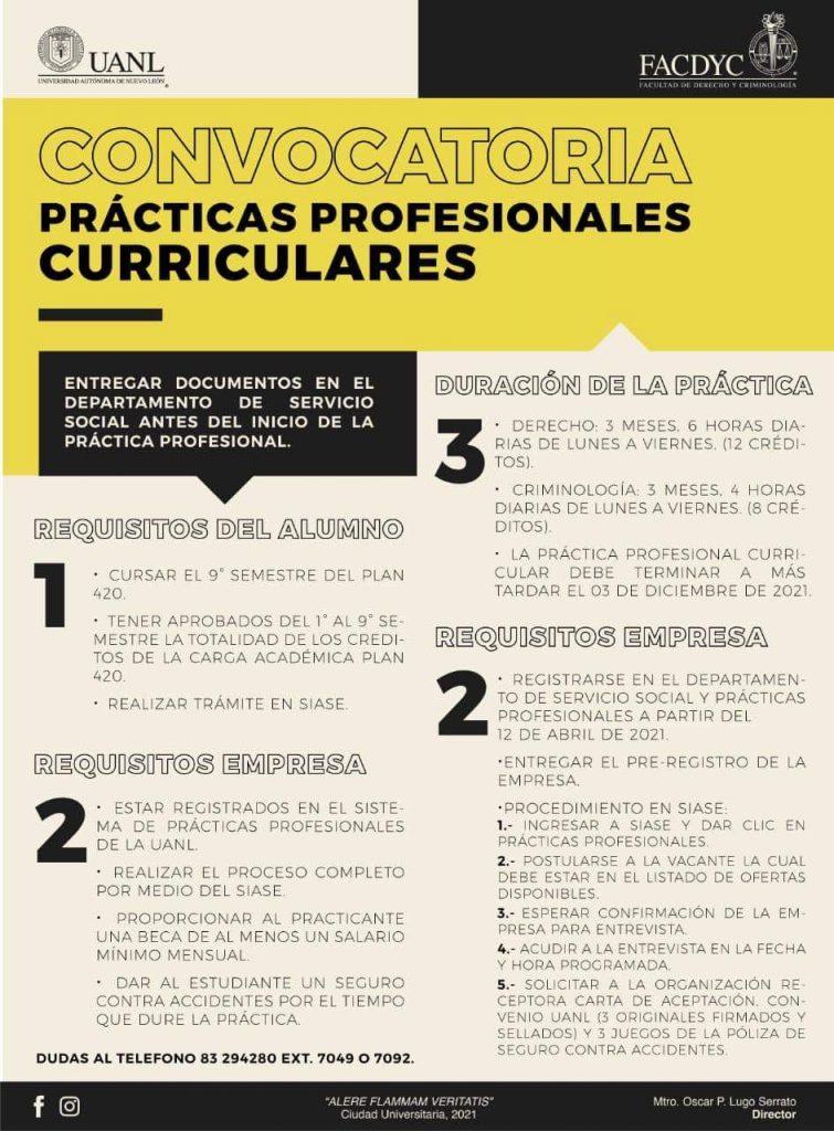 Convocatoria practicas profesionales FACDYC